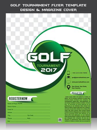Golf Tournament Flyer Template Design & Magazine Cover vector illustration