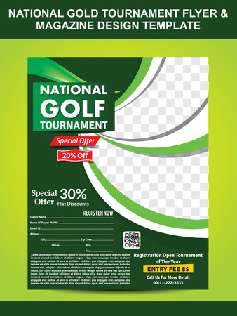 national gold golf flyer template & magazine design vector illustration
