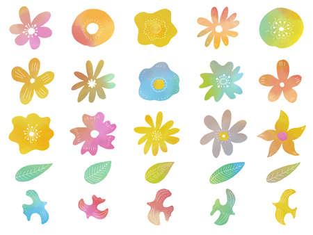 Illustration pour Set of watercolor flowers and birds , vector illustration. - image libre de droit