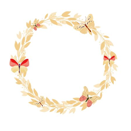 Illustration pour Vector floral frame on white background. Wreath with leaves and flowers. Bright colorful spring. - image libre de droit