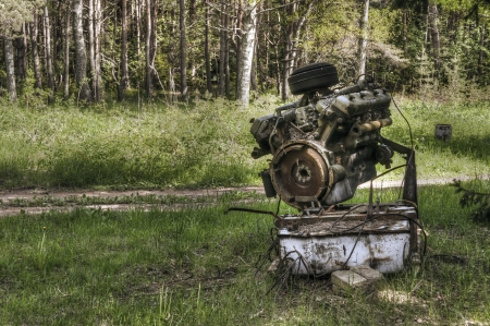 Od machine engine left into forest