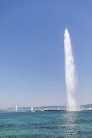High fountain called Jet d'eau in the centre of Geneva, Switzerland