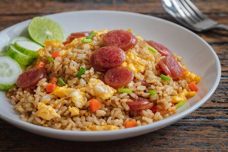 Photo for Fried rice with chinese sausage on plate - Royalty Free Image