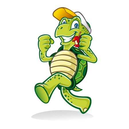 Illustration pour Cartoon turtle was running cheerfully while eating an apple and wearing a hat - image libre de droit