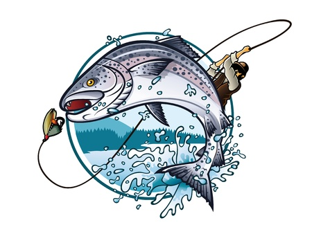 Illustration of an fisherman is pulling fishing rod while salmon jumping to catch the bait on the lake