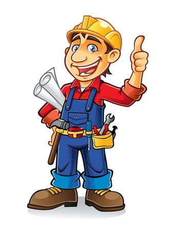 construction workers stand by holding the paper work and tools with a thumbs-up and a big smile