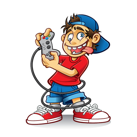 cartoon young people are playing games with the crazy eyes and sticking out his tongue