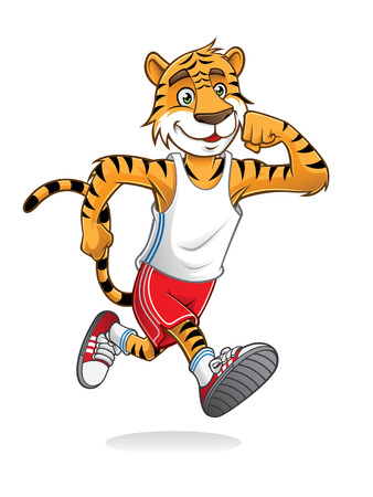 tiger is running like athletes runners