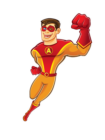 Illustration pour handsome cartoon superhero wearing a mask is flying while blinking and laughing happily - image libre de droit