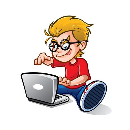 Ilustración de cartoon geeky nerd kid is typing notebook enthusiastically - Imagen libre de derechos