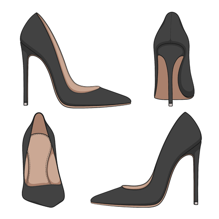 Female black classic shoes with heels. Set of vector color illustrations on a white background.