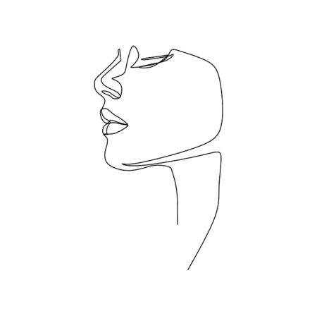 Illustration pour Continuous single line abstract drawing vector illustration of a beautiful young woman - image libre de droit
