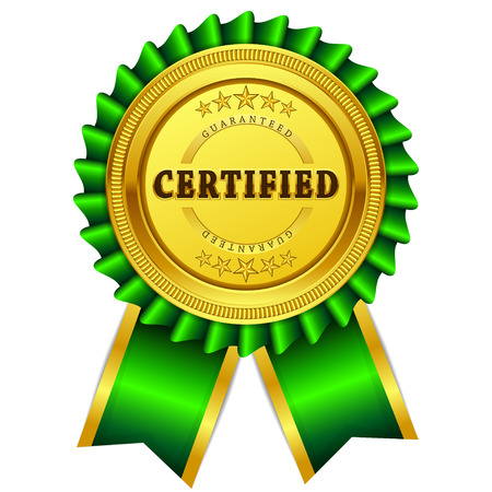 Ilustración de Certidied Guaranteed Green Seal, Label Icon - Imagen libre de derechos