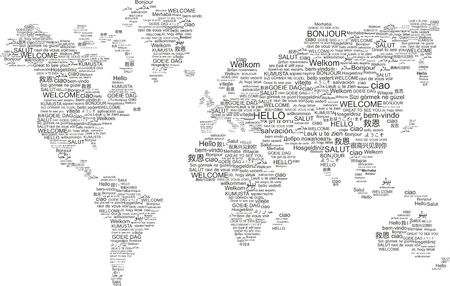 world map in welcome words