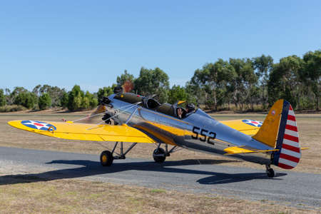 Tyabb, Australia - March 9, 2014: Vintage 1941 Ryan ST3-KR (PT-22) Military training aircraft VH-RPT.