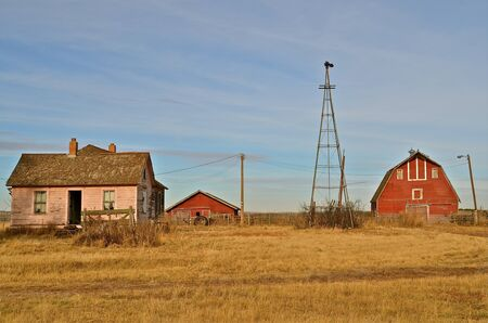 Empty buildings of a deserted farmstead