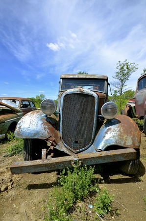 LAKE PARK MINNESOTA, July 15, 2016: The blue old pickup with a homemade bumper is a Chevrolet, colloquially referred to as Chevy and formally the Chevrolet Division of General Motors Company, is an American automobile division of the American manufacturer