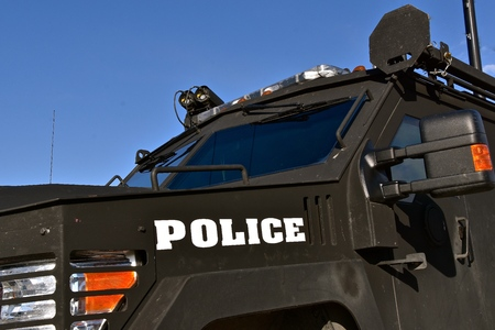 Photo pour A black armored police vehicle used by SWAT members - image libre de droit