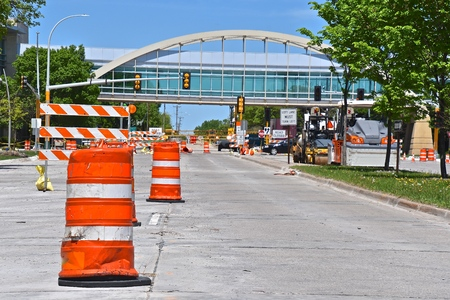 Photo for A 4 lane lane highway or street is closed during road construction. - Royalty Free Image