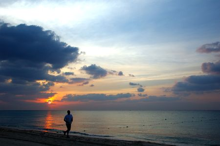 Morning Jogger on the Mayan Riviera, Mexicoの写真素材