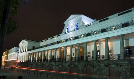presidential palace night scene with light streak quito ecuador