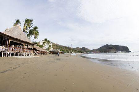 beachfront scene san juan del sur nicaragua with restaurants and hotels on pacific ocean