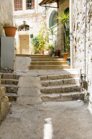 ancient steps street residential scene old city Jerusalem Palestine Israel