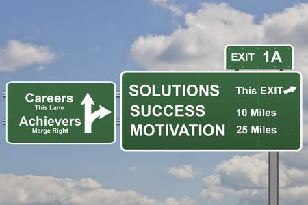 Business slogans on a road sign exit