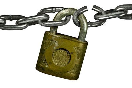 Photo pour Lock with chain, chain has broken link - image libre de droit