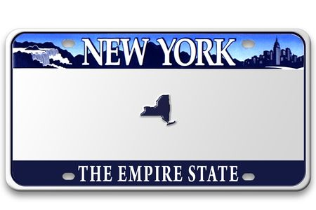 Concept image with different state on license plate BLANK (not a real license plate - photoshoped)