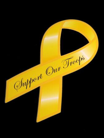 Support our troops yellow ribbon over black