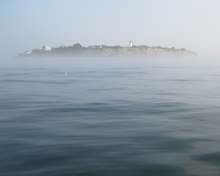Gurnet Point rises out of the morning mist, Plymouth, MA