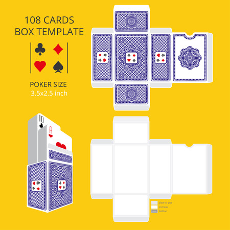 Poker Card Size Tuck Box Template Vector Illustration Ready