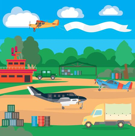 Illustration for Country airport. Illustration of suburban airfield with equipment and service system, dispatching and locator system. Illustration for travel and recreation. - Royalty Free Image