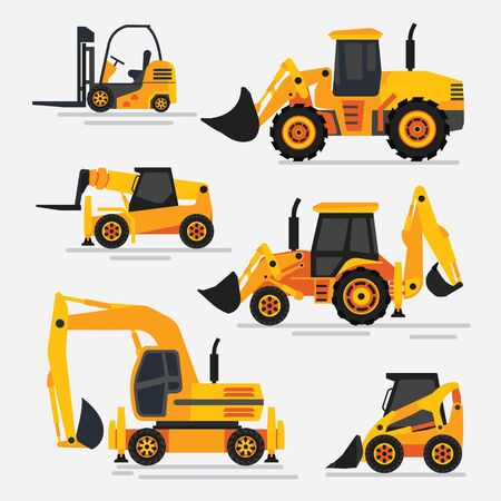 Illustration for illustration of tractors and specialized machinery for construction works. Wheeled tractors and excavator. Flat design, detailed illustration. - Royalty Free Image