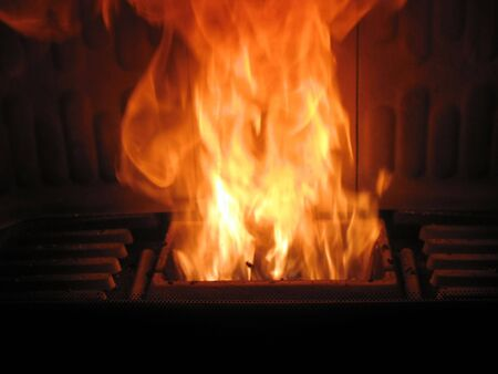 fireplace is burning wood pellets