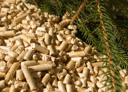 wood pellets green energy and branches of red deal