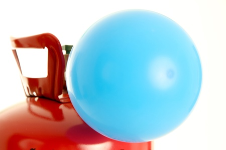 Balloon being filled up by a helium tank