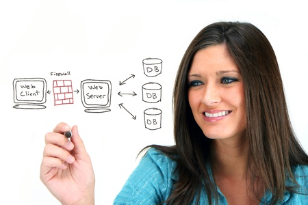 Photo pour Young woman designing her website - image libre de droit