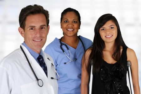 Doctor and nurse with a patient in the hospital