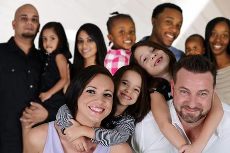Foto de Group of different families together of all races - Imagen libre de derechos