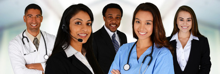 Photo pour Business and Medical Team of Mixed Races at Office - image libre de droit
