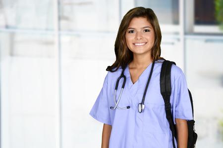 Photo pour Female nurse working her job in a hospital - image libre de droit