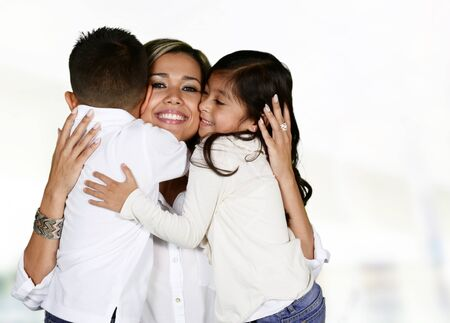 Young hispanic family who love being with each other