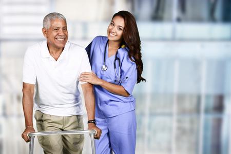 Photo pour Nurse taking care of an elderly patient - image libre de droit