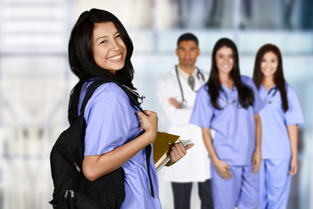 Photo pour Woman who is graduating from nursing school - image libre de droit