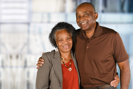 Photo pour Elderly African American Man and woman posing together - image libre de droit