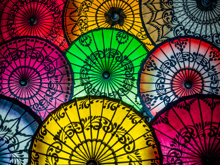 Colorful Umbrellas on Display at Street Market in Bagan, Myanmar