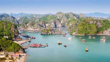 View of Halong Bay from Cat Ba Island, North Vietnam