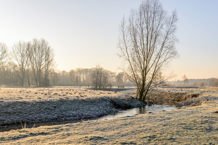 Picturesque rural winter landscape in the Netherlands in low early morning sunlight.